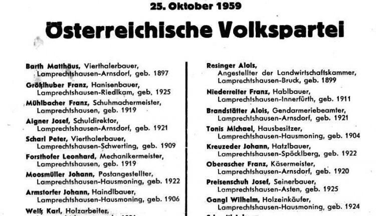Stimmzettel GV Wahl 1959