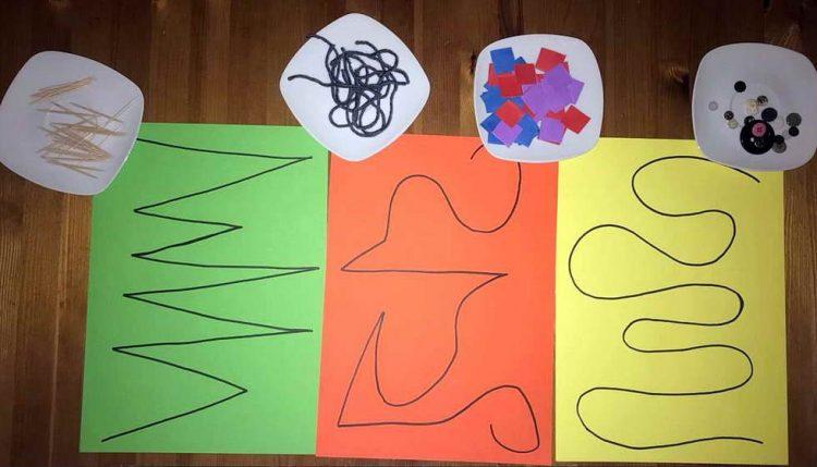 Zur Förderung der Feinmotorik und Auge-Hand-Koordination legen die Kinder verschiede-ne Linien oder Formen mit verschiedenen Materialien nach. (Elina Toal)