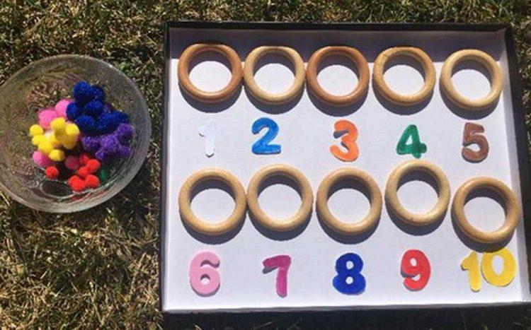 Für dieses mathematische Spiel werden folgende Materialien benötigt: ein Tablett, Holzringe, Pompons in verschiedenen Farben, ausgeschnittene Zahlen aus Moosgummi, Filz oder Karton und eine kleine Schüssel. Das Kind kann die Pompons farblich sortieren, die Zahlen der Reihe nach auflegen oder die Pompons einfach zählen. Dieses Bildungsmittel lässt viele Spielmöglichkeiten zu. (Anna Windhofer)
